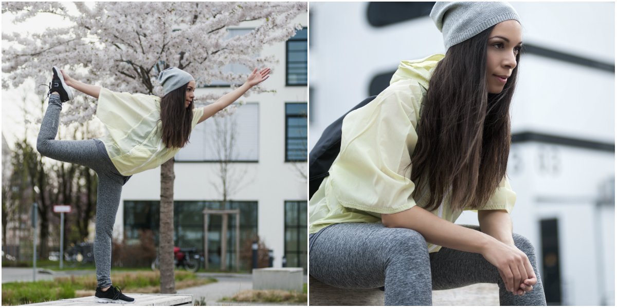 bench yoga collage